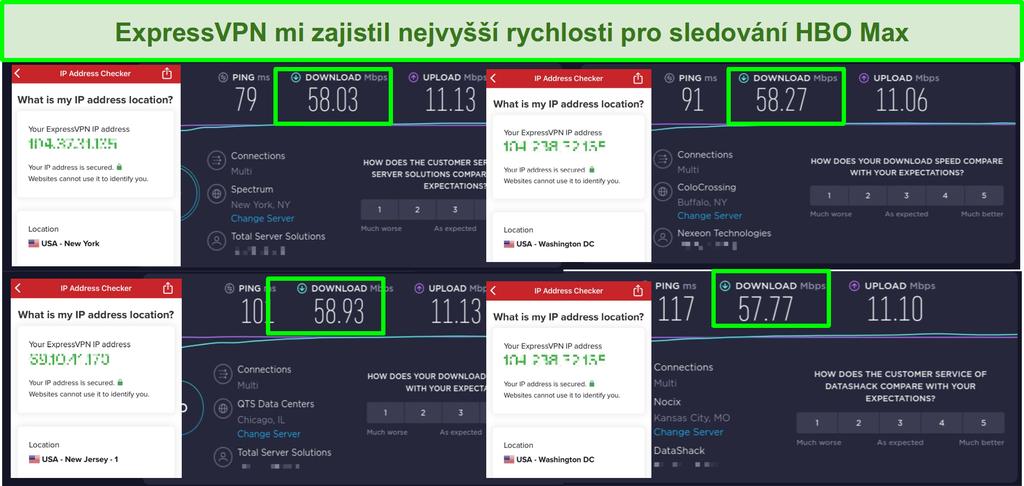 Screenshoty rychlostních testů ExpressVPN