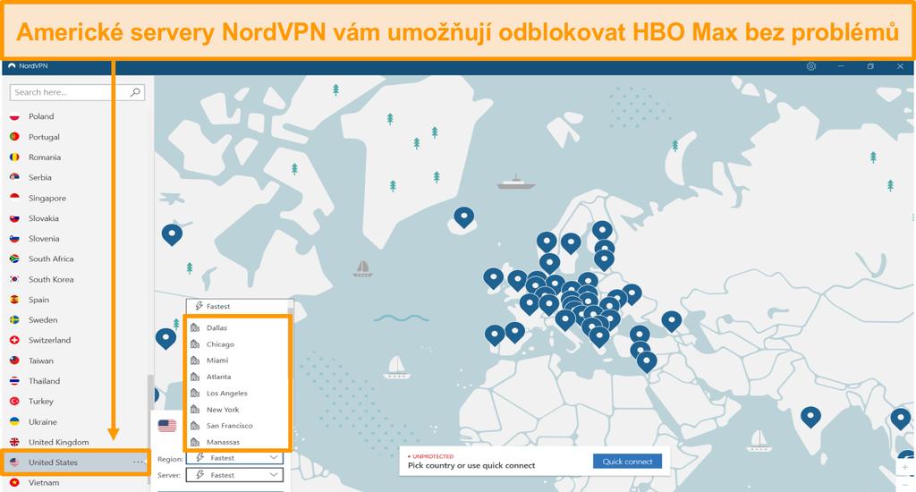 Screenshot z regionálních amerických serverů NordVPN pro odblokování HBO Max ze zahraničí
