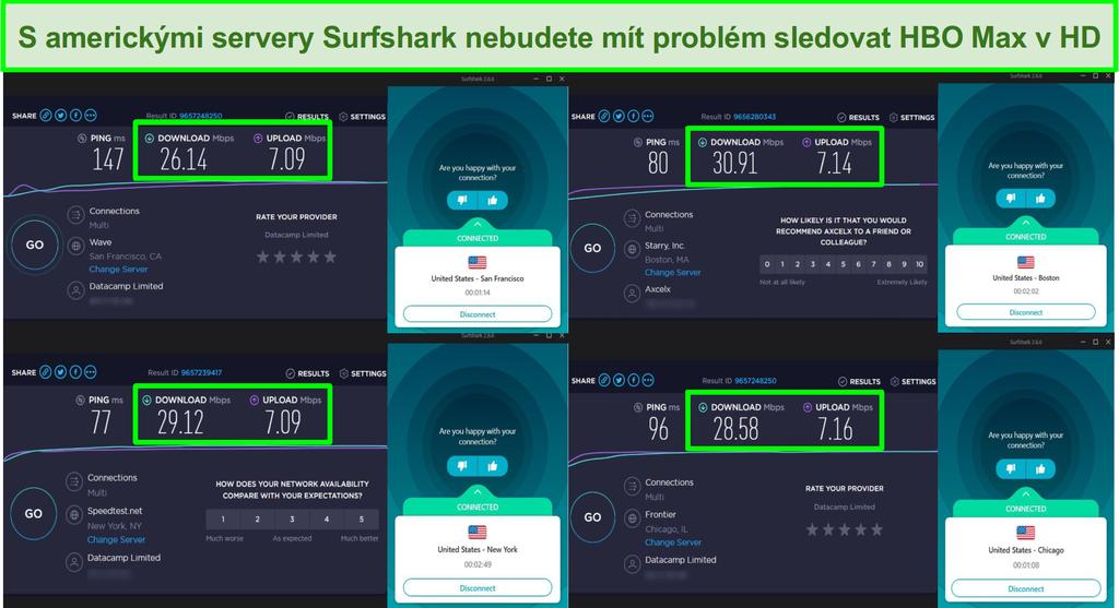 Snímek obrazovky rychlostních testů se servery Surfshark USA