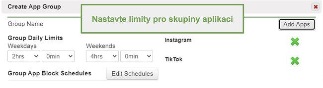 Screenshot nastavení limitů pro skupiny aplikací