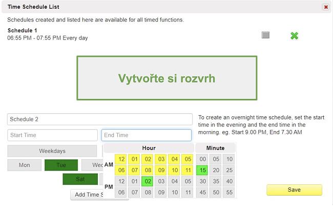 Screenshot ze seznamu časového plánu