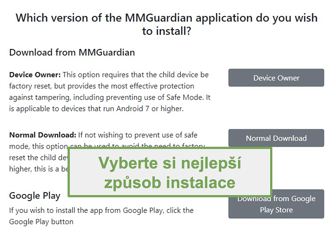 Screenshot výběru typu instalace
