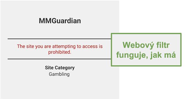 Screenshot z webového filtru, který fungoval tak, jak byl inzerován