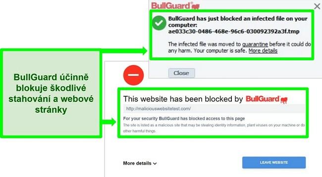 Screenshot z webu BullGuard a bloků ke stažení.