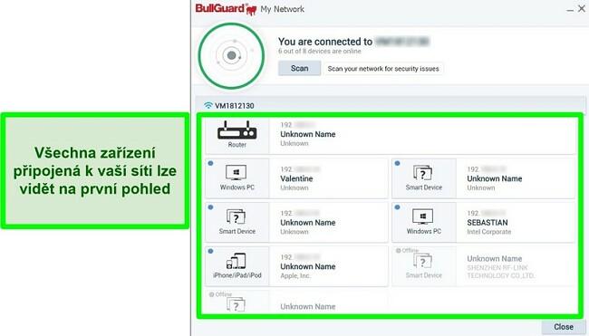 Screenshot síťového skeneru BullGuard a zařízení aktivně připojených k síti.