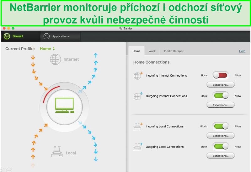Screenshot uživatelského rozhraní Intego NetBarrier ukazující ochranu příchozího a odchozího síťového provozu