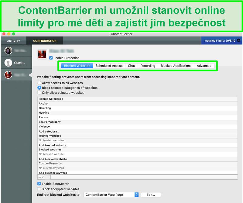 Screenshot rozhraní ContentBarrier s různými nastaveními rodičovské kontroly