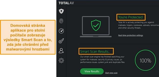 Screenshot zobrazující domovskou stránku aplikace TotalAV ve Windows
