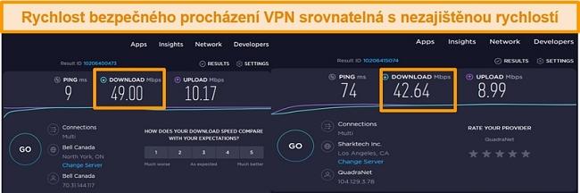 snímek obrazovky porovnávající rychlosti nezabezpečeného a amerického připojení k serveru VPN