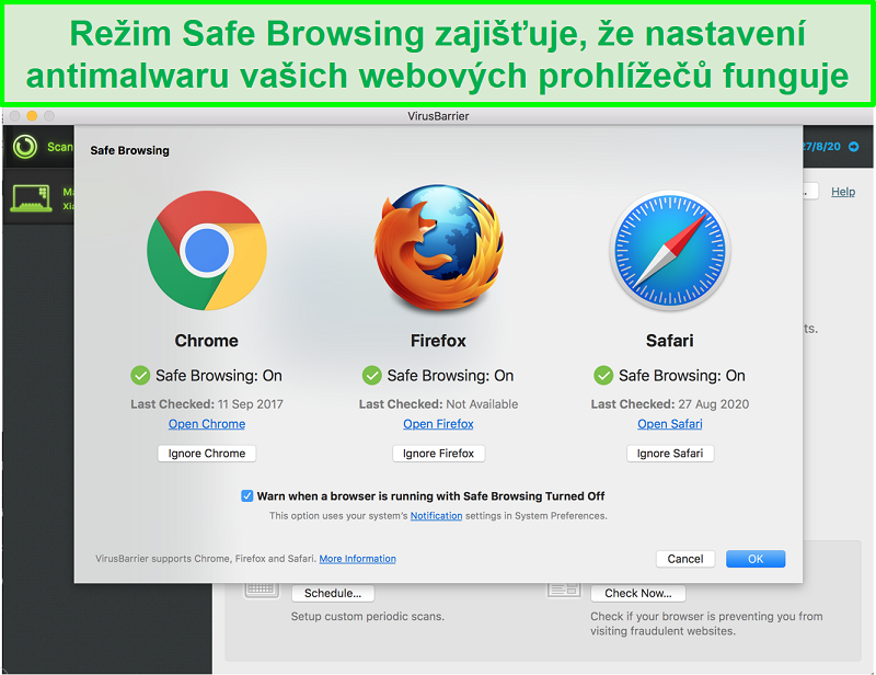 Screenshot rozhraní Intego s různými webovými prohlížeči Je povolen bezpečný režim prohlížeče