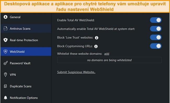 Screenshot nastavení WebShield v desktopové aplikaci TotalAV