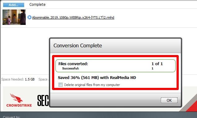 Compressed RealMedia HD file