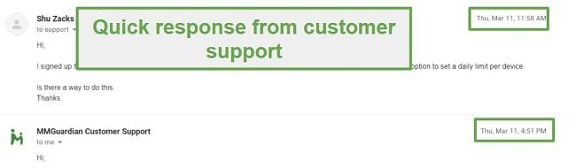 MMGuardian Customer Support