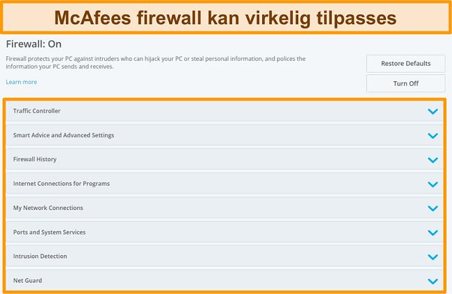 Skærmbillede af McAfee Firewall-funktioner
