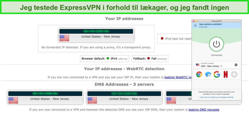 Skærmbillede af ExpressVPN passerer en IP-, WebRTC- og DNS-lækagetest, mens der er oprettet forbindelse til en server i USA