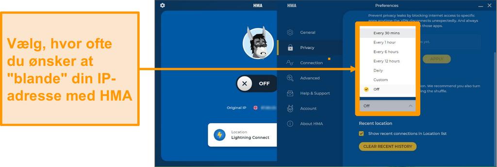 Skærmbillede af HMA VPN-appen, der viser ip shuffle-funktionen