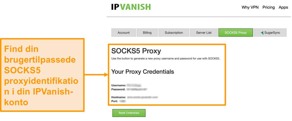 Skærmbillede af IPVanish's gratis SOCKS5 proxy server legitimationsoplysninger på hjemmesiden