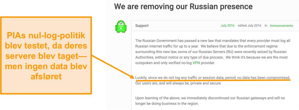 Skærmbillede af Private Internet Access VPN's hjemmeside med et blogindlæg, der beskriver årsagen til PIA's tilbagetrækning fra Rusland