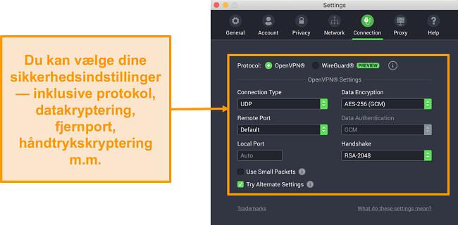 Skærmbillede af Private Internet Access VPN og dens app til Mac, der viser fanen Forbindelses tilpasningsmuligheder