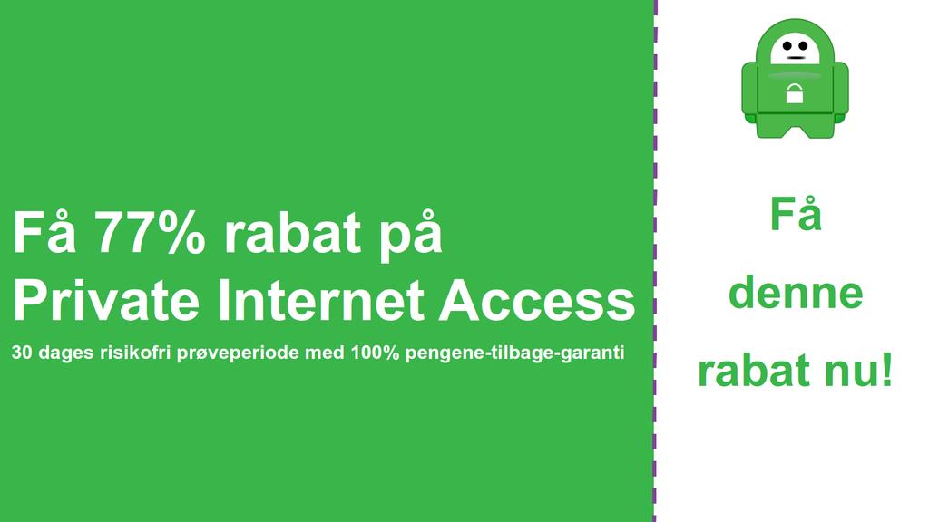 Skærmbillede på den vigtigste private internetadgangskupon