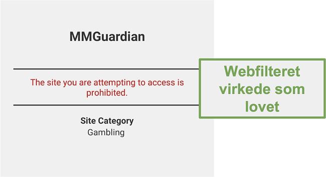 Skærmbillede af webfilteret, der fungerede som annonceret