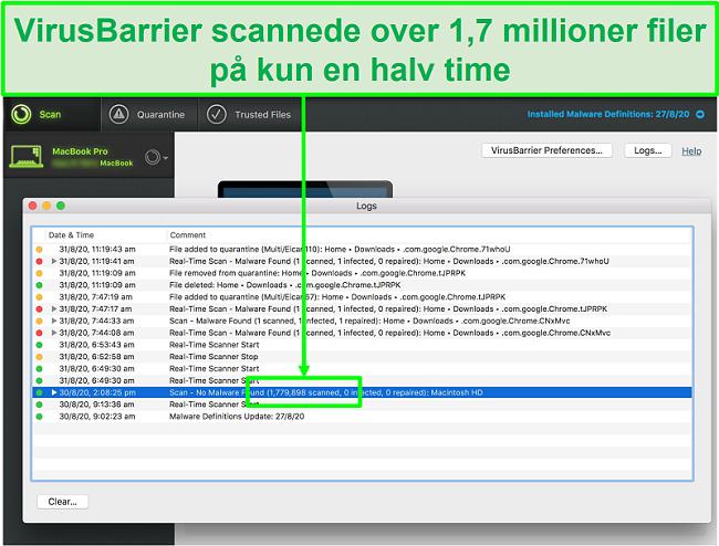 Skærmbillede af Intego-virusscanningslogfiler, der viser, at det scannede 1,7 millioner filer på 30 minutter