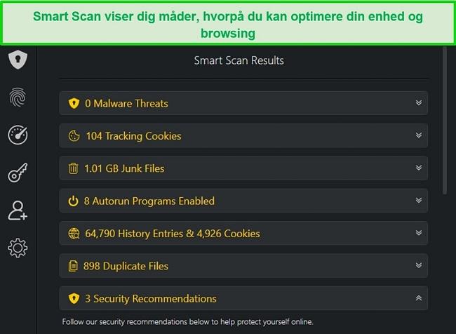 Skærmbillede af TotalAVs Smart Scan-resultat