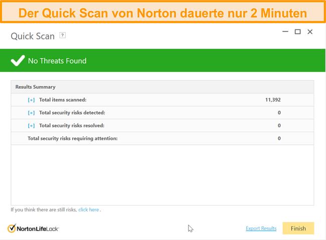 Screenshot des schnellen Scan-Ergebnisses von Norton 360