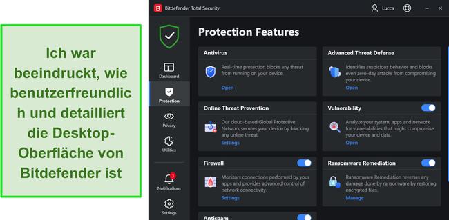 Screenshot der Windows-App-Oberfläche von Bitdefender