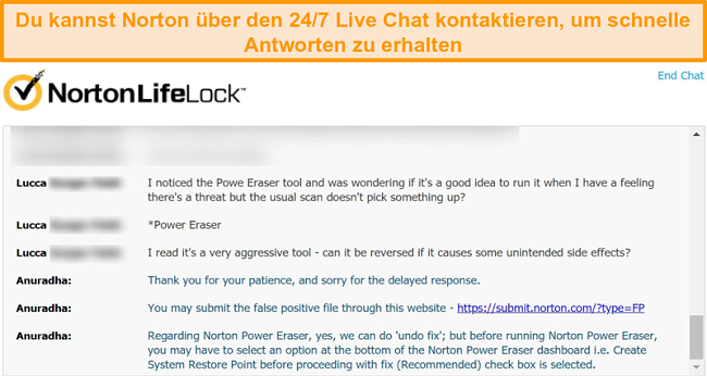 Screenshot einer Unterhaltung mit einem Norton-Kundendienstmitarbeiter über einen Live-Chat.