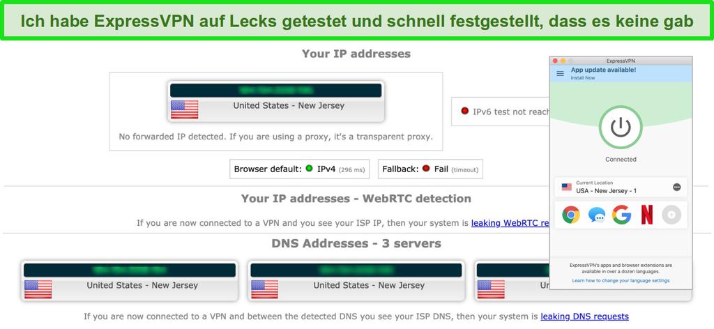 Screenshot von ExpressVPN, der erfolgreich einen IP-, WebRTC- und DNS-Leaktest besteht, während er mit einem Server in den USA verbunden ist