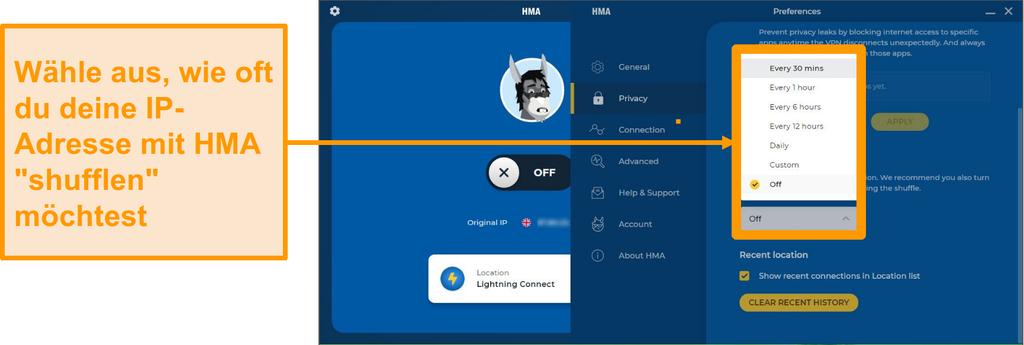 Screenshot der HMA VPN-App mit der IP Shuffle-Funktion