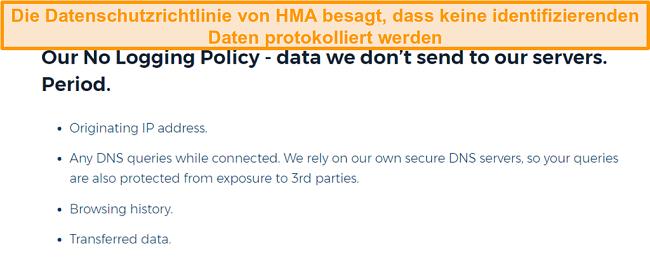 Screenshot von HMA VPN (Hidemyass) und seiner Datenschutzrichtlinie ohne Protokollierung