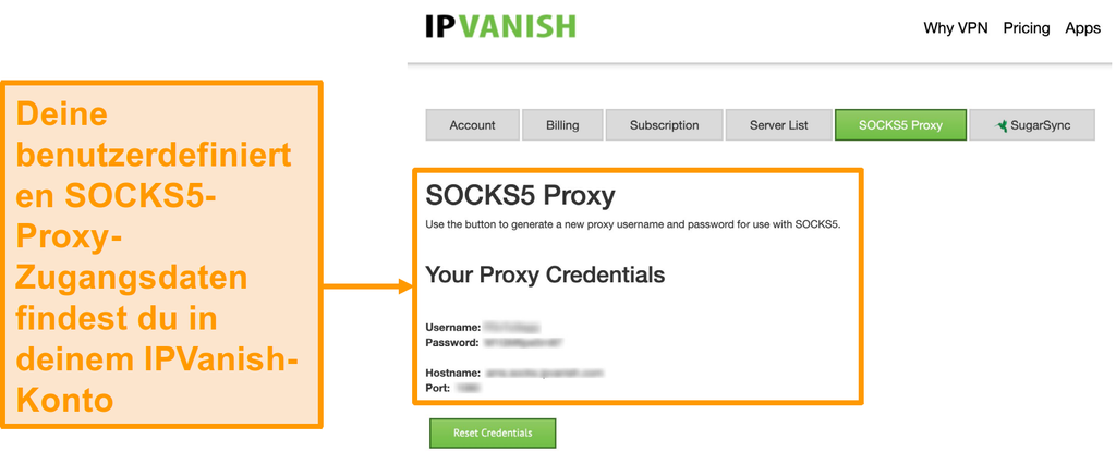 Screenshot der kostenlosen SOCKS5-Proxyserver-Anmeldeinformationen von IPVanish auf der Website