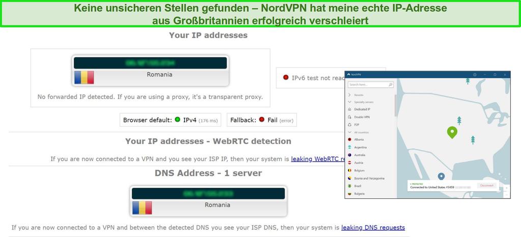 Screenshot von NordVPN, der erfolgreich einen IP-, WebRTC- und DNS-Leaktest besteht, während er mit einem Server in Rumänien verbunden ist
