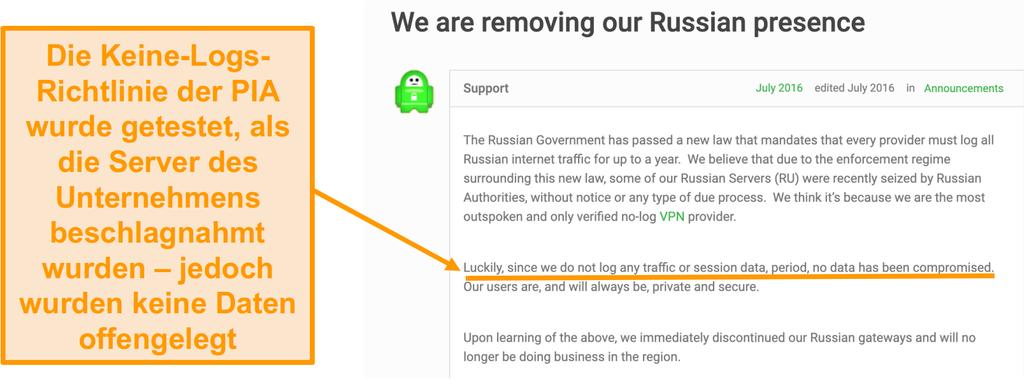Screenshot der Website von Private Internet Access VPN mit einem Blogbeitrag, der den Grund für den Rückzug von PIA aus Russland beschreibt