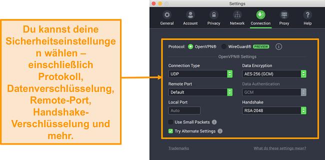 Screenshot von Private Internet Access VPN und seiner App für Mac mit den Anpassungsoptionen der Registerkarte Verbindung