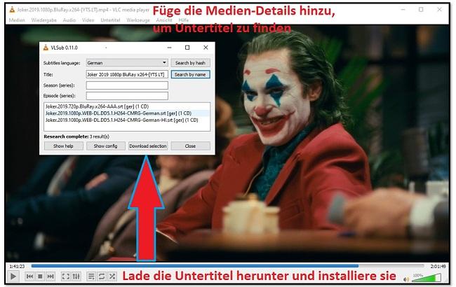 Download Untertitel mit VLC