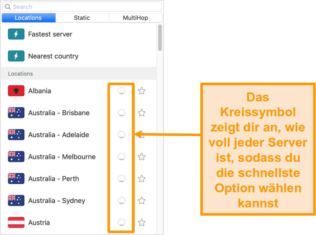 Screenshot der Serverliste von Surfshark mit der Serverauslastung