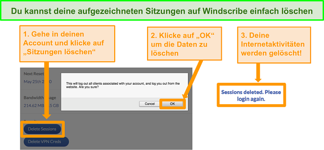 Screenshot der Option zum Löschen von Daten auf dem Windscribe-Konto