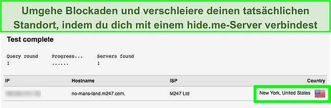 Screenshot der IP-Adresse von hide.me in New York beim Bestehen des DNS-Leaktests