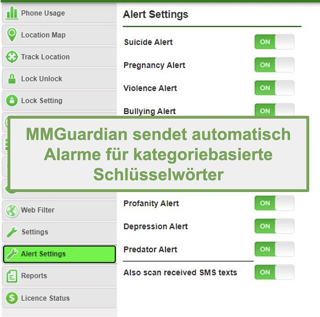 Screenshot von MMGuardian, der automatisch Warnungen für kategoriebasierte Keywords sendet