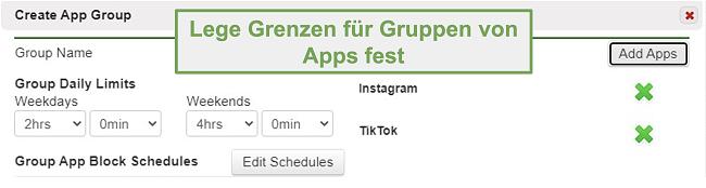 Screenshot zum Festlegen von Grenzwerten für Gruppen von Apps