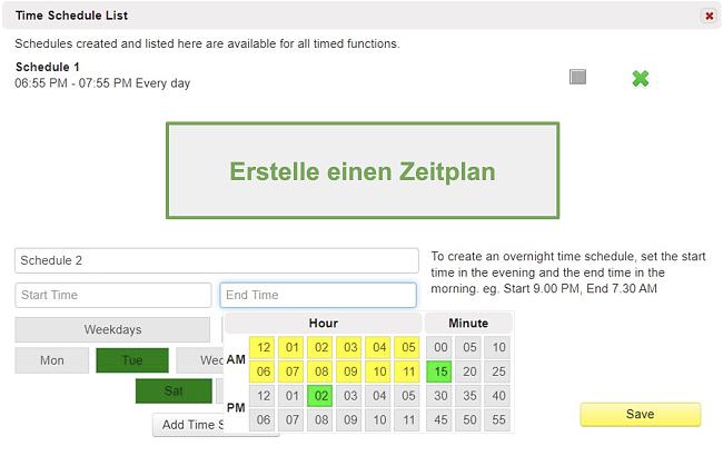 Screenshot der Zeitplanliste