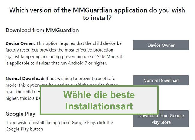 Screenshot der Auswahl des Installationstyps