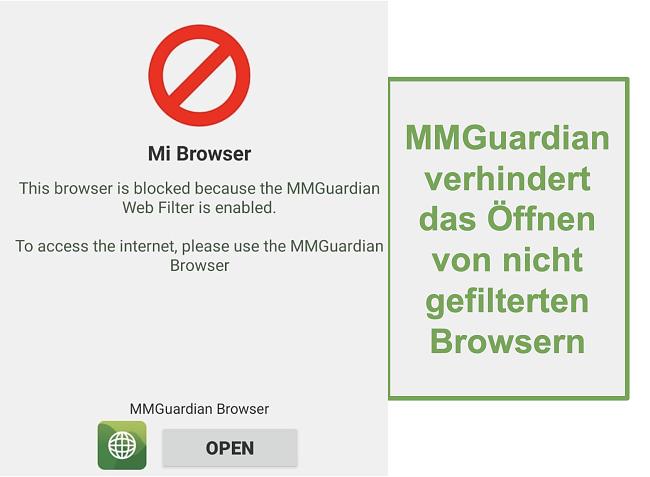Screenshot von MMGuardian verhindert das Öffnen nicht gefilterter Browser