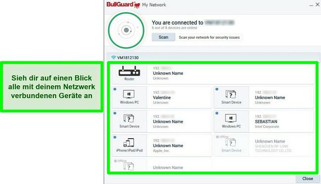 Screenshot des BullGuard-Netzwerkscanners und der Geräte, die aktiv mit einem Netzwerk verbunden sind.