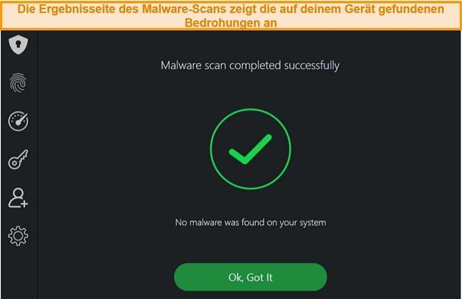 Screenshot der Virenscan-Ergebnisse von TotalAV