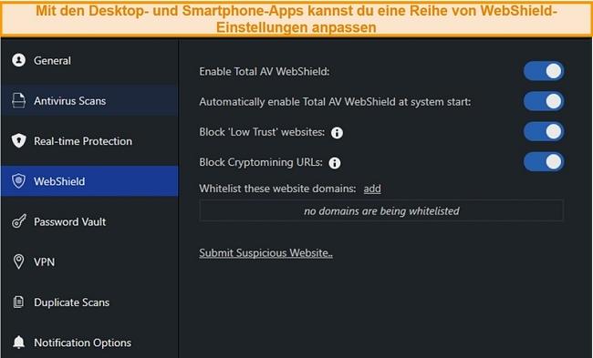 Screenshot der WebShield-Einstellungen in der TotalAV-Desktop-App