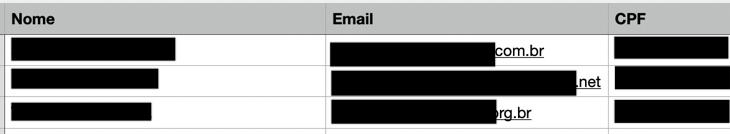 Screenshot shows leaks of personal data